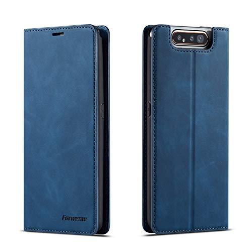 QLTYPRI Hülle für Samsung Galaxy A80 A90, Premium Dünne Ledertasche Handyhülle mit Kartenfach Ständer Flip Schutzhülle Kompatibel mit Samsung Galaxy A80 A90 - Blau