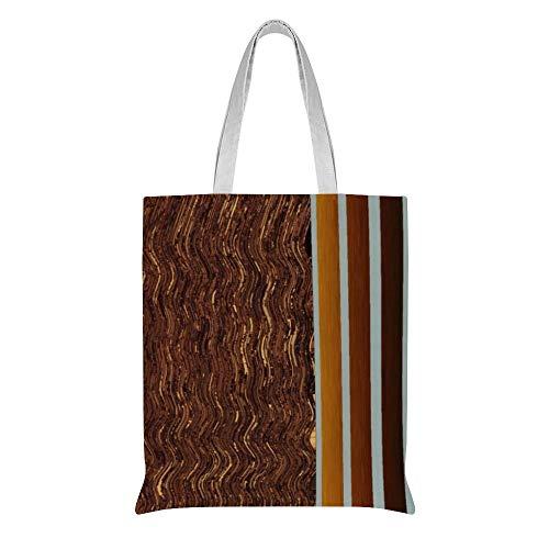 Personalisierbare Canvas-Tragetasche, digitale Holzlasur, Streifen und Wellenmuster, Baumwolle, Schultertasche, Geburtstagsgeschenk
