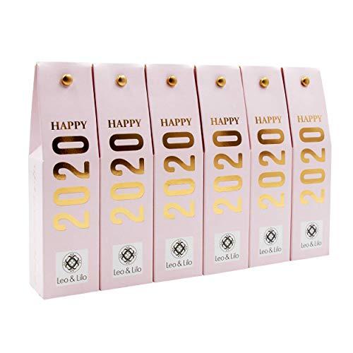 Leo & Lilo Happy 2020, der zauberhafte kleine Glücksbringer, 6 x Pfingstrosen Handcreme 20 ml in wunderschöner Geschenkschachtel mit Golddruck, Naturkosmetik Made in Germany