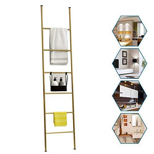 KAISIMYS Escalera para Mantas de Metal, toallero de Escalera, estantes para Toallas, Soporte para exhibición de Bufandas, Soporte para Secado de Ropa Inclinado a la Pared, 6 Niveles, Altura 170 cm do