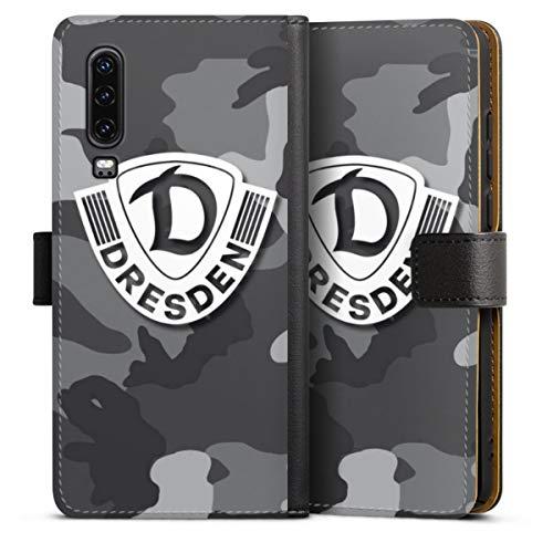 Klapphülle kompatibel mit Huawei P30 Handyhülle aus Leder schwarz Flip Case SG Dynamo Dresden Camouflage Wappen