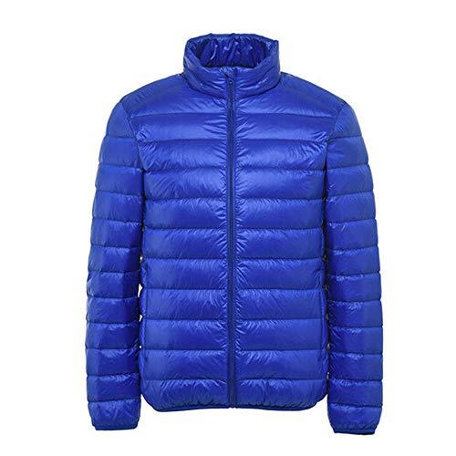 YUQIBXC Herren-Daunenjacke ohne Kapuze, warme Jacke, Jacke, Ultraleggeri, Daunenjacke, Winterjacke für Herren, Herren, Blu Zaffiro, 3XL