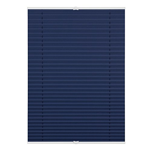 Lichtblick PVV.080.210.09 Plissee Klemmfix, Thermo, ohne Bohren, verspannt, Verdunkelung Blau, 80 cm x 210 cm (B x L)