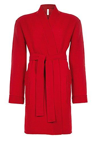 Taubert Spa Thalasso Short Kimono kurzer Bademantel 100 cm Pique XL Rot