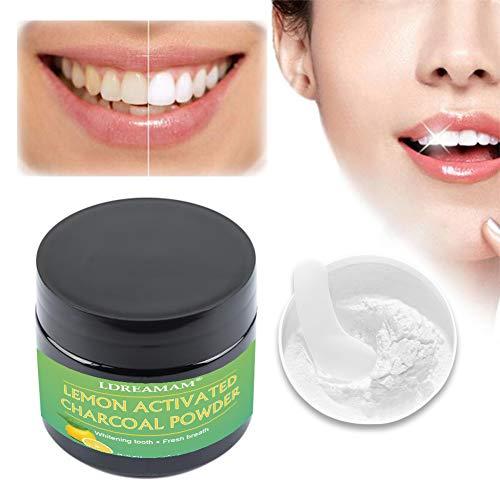 Teeth Whitening,Kokosnuss Aktivkohle Pulver,Zahnaufhellung Kohle,für weiße Zähne mit frischem Menthol Vegan Activated Charcoal Teeth Whitening Powder