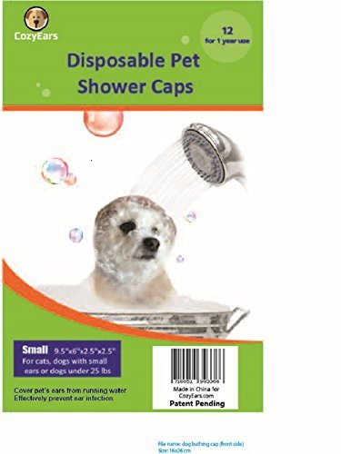 Disposable Pet Shower Caps, Ear Infection Prevention, Ears Drops Guard, Surgical Area Cover, Overhanging Ears Protection for Dogs, Cats, Bath, Rain, Water, 12 Caps/Pack (Small)