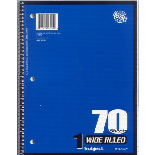 Wide Ruled 1 Subject 70 Page Sheet Spiral Notebook Paper 24 (Case) Pack Various Colors by Norcom