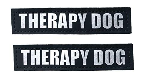 ALBCORP Reflective Therapy Dog Patches with Hook Backing for Service Animal Vests/Harnesses Small (4.6 X 1) Inch