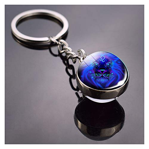 Personalise 12 Constellation Keychain Fashion Double Side Cabochon Glass Ball Keychain Zodiac Signs Jewelry For Men For Women Birthday Gift for Women Men Teen Girls (Color : Leo)