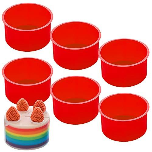 Juego de 6 moldes para hornear de silicona para tartas, moldes para tartas SourceTon de 4 pulgadas para hornear, muffins, cupcakes, tartas en capas, tarta de queso, color rojo