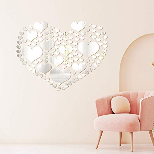 Espejo Adhesivo Pared con Forma de Corazón, Pegatinas de Acrílico Autoadhesivas para Pared, para El Hogar, Sala de Estar, Dormitorio, 110 Piezas (Plata)
