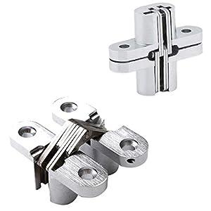 Bisagras Cruzada de Aleación de Zinc, Bisagra Cruzada Invisible para Puerta Plegable/Oculta, 2 piezas, 16×70 mm / 13×45 mm (13×45 mm)