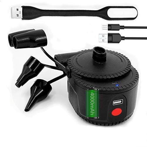 Gonfleur Electrique Portable, 2 en 1 Rechargeable Gonfleur Degonfleur Electrique Pompe À Air Portable Rapide Gonfleur Électrique avec 4 Buses pour Matelas Gonflable,Comprend Une lumière LED