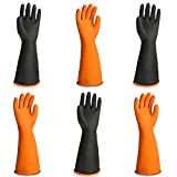 Chemical Lab Gloves, EnPoint 3 Pairs 21.6 In Waterproof Work Gloves for Acid Alkali Oil Protection, Long Rubber Chemical Resistant Gloves for Cleaning Car Kitchen Dishwashing Gardening Industry, XXL