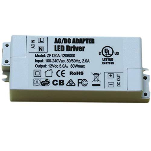 Adogo - trasformatore LED, alimentazione: 60W, 12V CC, 5A,tensione costante per strisce LED e lampadine a LED G4, MR16, MR11, White, 60W 60.00watts 12.00volts