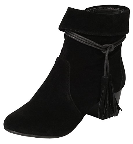 Breckelle's Women's Closed Toe Cuff Tassel Chunky Stacked Mid Heel Ankle Bootie,6 B(M) US,Black