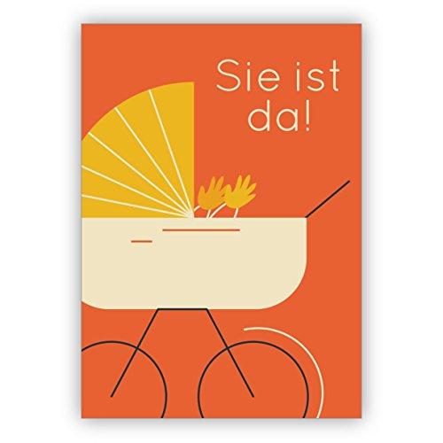 Orange Designer retro baby wenskaart voor de geboorte van een meisje met vintage kinderwagen: het is er! • Rechtstreekse verzending met uw tekst op inlegger • schattige welkomstkaart, wenskaart, felicitatiekaart voor moeder en kind 4 Grußkarten oranje
