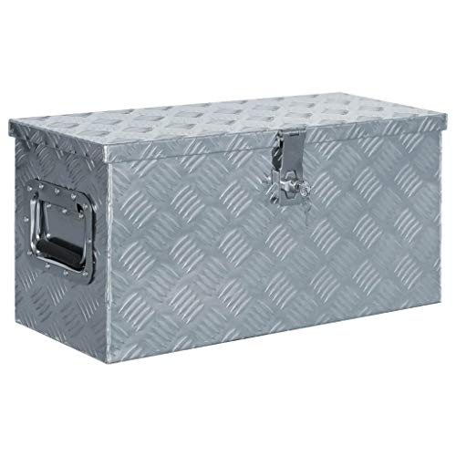 VidaXL 142936 aluminium kist 61,5 x 26,5 x 30 cm aluminium box koffer gereedschapbox transportkist, zilver