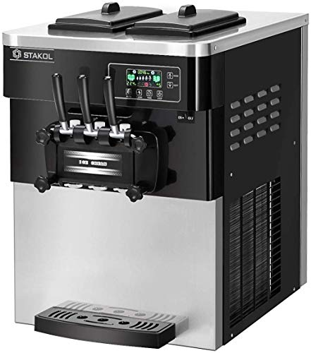 COSTWAY Commercial Ice Cream Machine, Automatic 2200W 20-28L/5.3-7.4Gallon Per Hour Soft & Hard Serve Ice Cream Maker with LCD Display Screen, Auto Shut-Off Timer, 3 Flavors