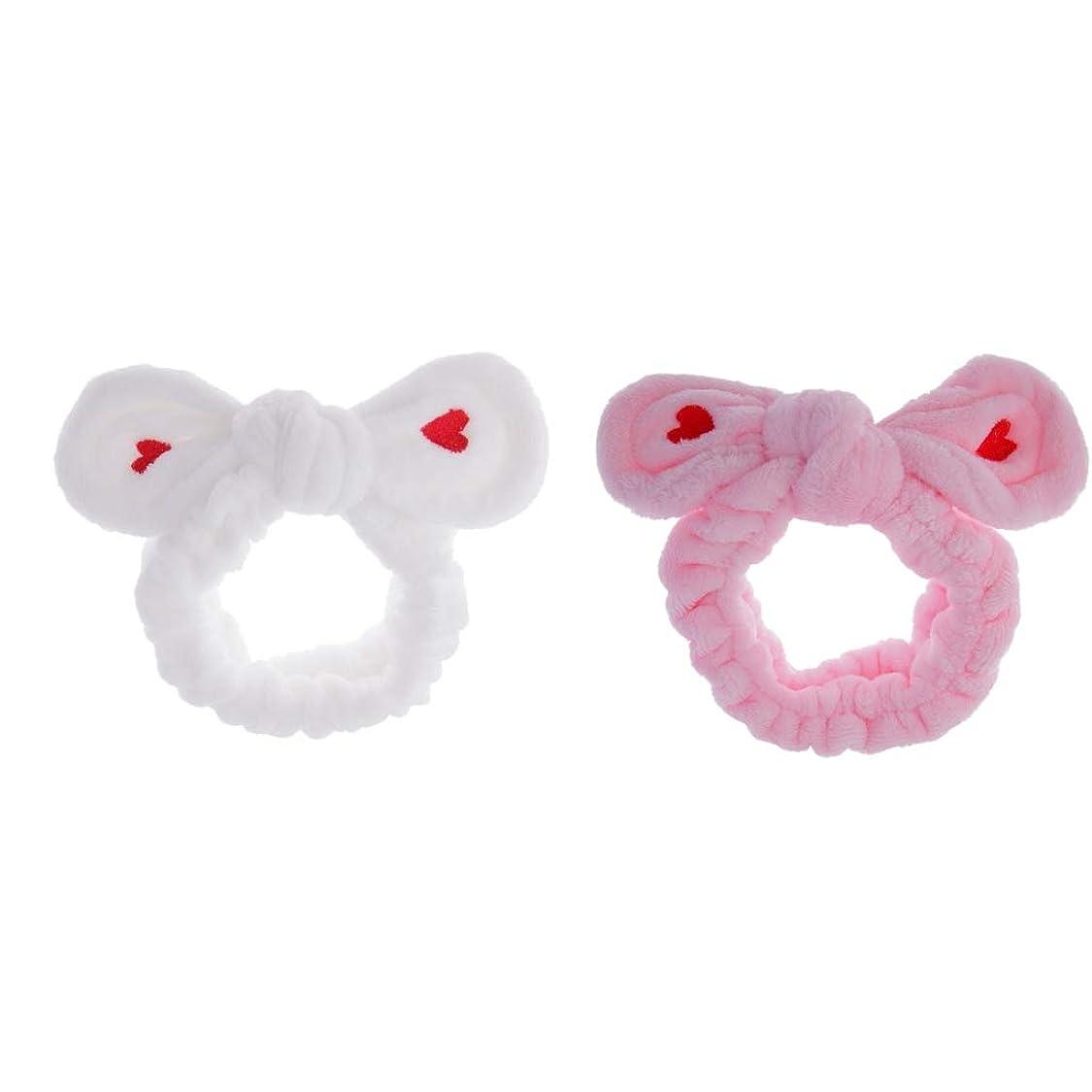 解釈的おもちゃ売上高CUTICATE ヘアバンド ウサギの耳 洗顔用ヘッドバンド 髪饰り お風呂 化粧 汎用 全4選択 - ピンク+白