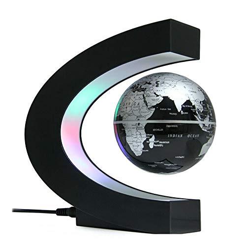 Coriver Globo flotante con luces LED Interruptor táctil Lámpara de globo magnético Formas C Levitación Globo del mundo Luz para decoración de escritorio Gadgets