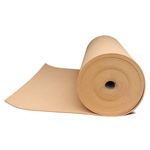 Corcho en rollo de 5 mm de espesor. Venta por metros. Aislamiento acústico y térmico, tablón de anuncio para pared, antiestático para suelos. (2 X 1 M)
