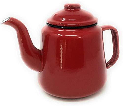Haushalt Japanische Emaille Teeservice Kaffeekanne Verdickte Gas Induktion Herd Universal Rote Emaille Teekanne mit Griff und Deckel