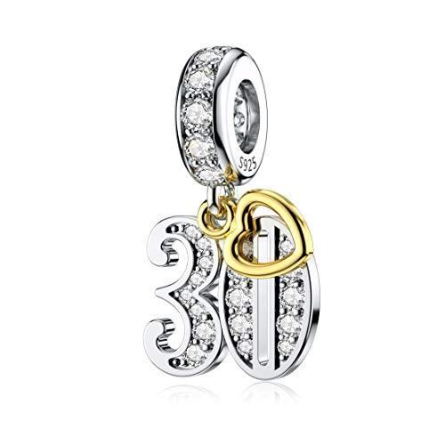 Dalaran, Charm In Argento Sterling Placcato Oro Per Pandora 16 18 21 30 40 50 60 Anni Di Amore E Argento, Colore: 30°, Cod. SP3910H20QWV8DXW