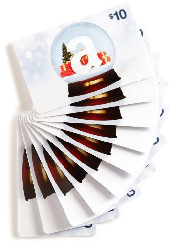 Amazon.com $10 Gift Cards, Pack of 10 (Holiday Globe Card Design)