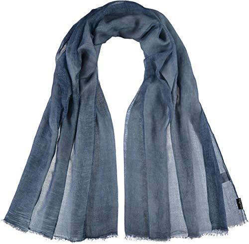 FRAAS Damen-Schal aus 100% Viskose - 100 x 200 cm Größe - Modische einfarbige Stola mit Fransen - Perfekt für den Frühling und Sommer Denim