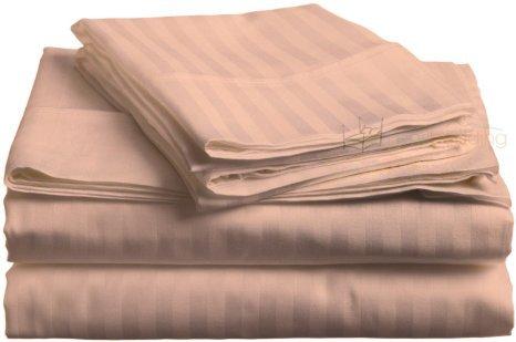 Dreamz - Juego de sábanas de 5000 hilos, 76,2 cm de profundidad con bolsillo para cama King Peach Rayas 100% algodón egipcio