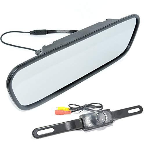 Boomboost - 5 Pouces Rétroviseur Affichage Plaque d'immatriculation Longue 7 LED Technologie à ultrasons Caméra de Vision Nocturne Infrarouge