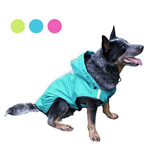 KoKoBin Cappottino Catarifrangente per Cani Gatto con Cappuccio, Tuta Riflettente per Pioggia per Cani di Taglia Grande, Regolabile Ultraleggero Traspirante Impermeabile Poncho(Blu, XXL)