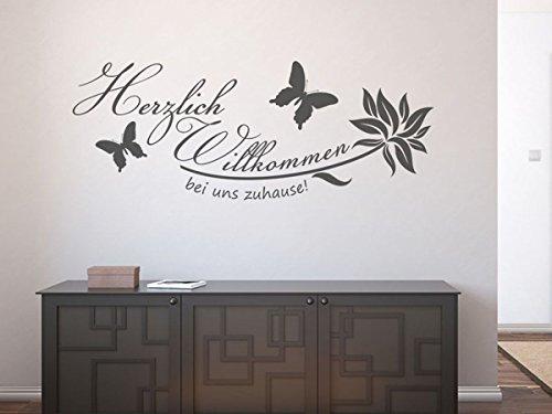 Wandtattoo-bilder® Wandtattoo Herzlich Willkommen bei uns Zuhause Nr 1 Flur Wanddeko Größe 60x23, Farbe Schwarz