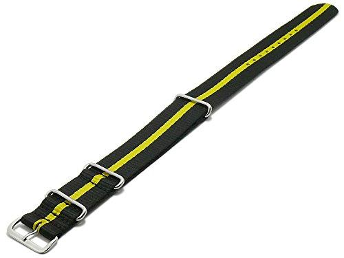 Meyhofer Uhrenarmband Bidford 20mm schwarz Textil gelber Streifen Durchzugsband im NATO-Style MyHekkb248