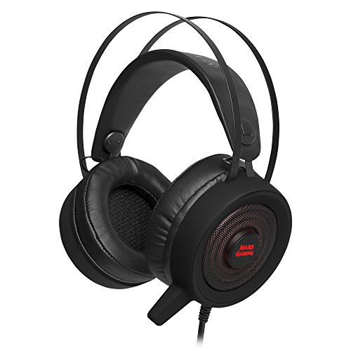 Mars Gaming MH318, Cascos Gaming Surround 7.1 RGBFlow, Drivers 50mm SENSUS,Negro