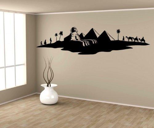 Wandtattoo Ägypten Sphinx Skyline Pyramide Palme Tattoo Aufkleber Wandbild 1M525, Farbe:Schwarz Matt;Skyline Länge:120cm