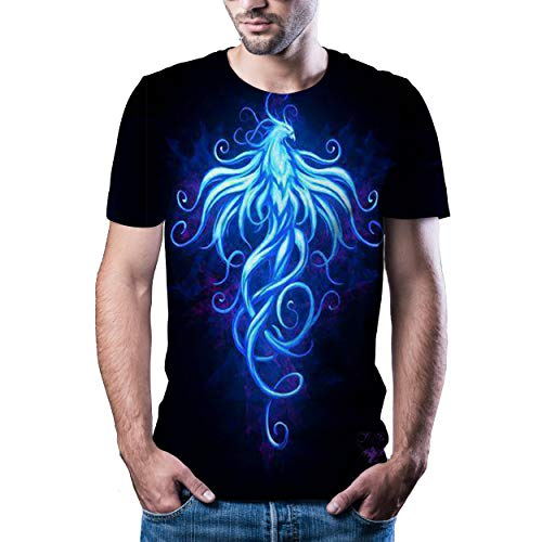 YUANCHENG Camiseta de la impresión del Paisaje del relámpago de la Camiseta de la impresión 3D de los Hombres