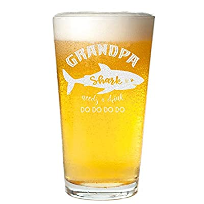 Veracco Grandpa And Papa Shark Needs a Drink Beer Pint Funny Shark Father's Day Gifts For New Dad Daddy