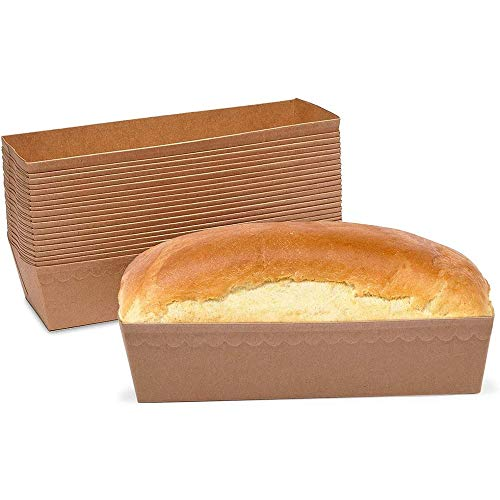 Paper Loaf Pans for Baking Bread, Brown Kraft (9.5 x 3.5 x 2 In, 30 Pack)