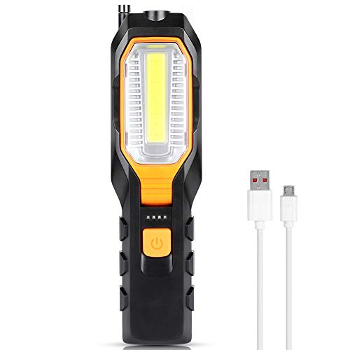 Luz de Trabajo LED COB, Haofy Lámpara de Inspección USB Recargable con 4 Modos, Lámpara de Trabajo Portátil con Base Magnética y Gancho, Linterna de Trabajo para Hogar, Taller, Automóviles, Camping