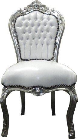 Casa Padrino Barock Esszimmer Stuhl Weiß/Silber - Möbel