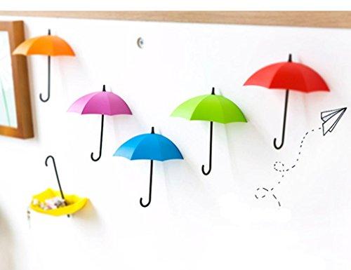 DZT1968 3pcs/set Cute Umbrella Wall Mount Key gadgets Holder Wall Hook Hanger Organizer 1.5x12x10.5cm (B)