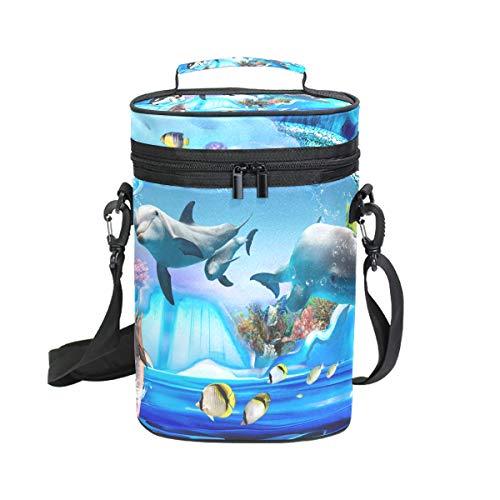 DEZIRO Dolfijn Pinguïn Jelly Aquarium Premium Geïsoleerde 2 flessen wijn Tote wijn draagtas met schouder riem gewatteerde bescherming, wijn reizen koeler tas