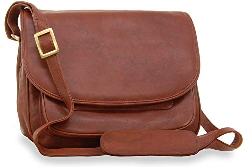 """Visconti Satteltasche/Handtasche \""""Atlantic\"""" - mit Überschlag - Braun Leder - (2195) Größe: B: 28 cm, H: 22 cm, T: 14,5 cm"""
