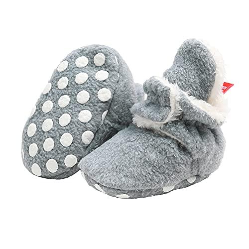 EDOTON Unisex noworodki śniegowe dla noworodków, miękkie podeszwy, w paski, botie, dla małych dzieci, śliczne kozaki, regulowane, wielokolorowa - szary - 0-6 Miesi?ce