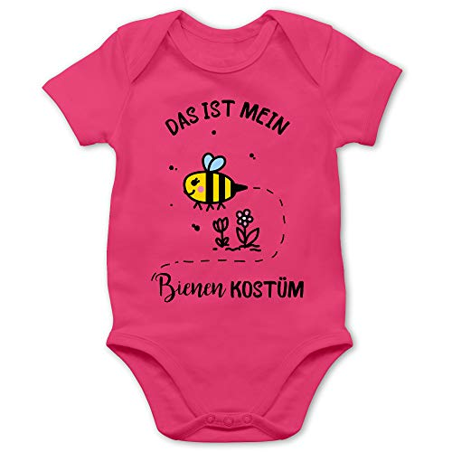 Shirtracer Karneval und Fasching Baby - Das ist Mein Bienen Kostüm - 1/3 Monate - Fuchsia - Bienen Baby Body - BZ10 - Baby Body Kurzarm für Jungen und Mädchen