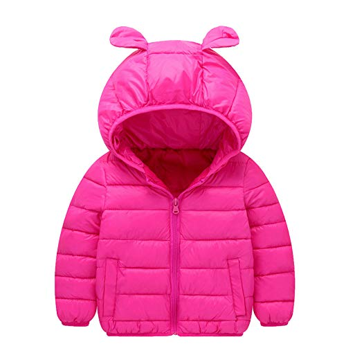 AMSKY Sunflower Baby Outfit,Children Kids Boys Girls Long Sleeved Hooded Keep Warm Wadded Jacket Clothes,Girls' Clothing,Hot Pink,90