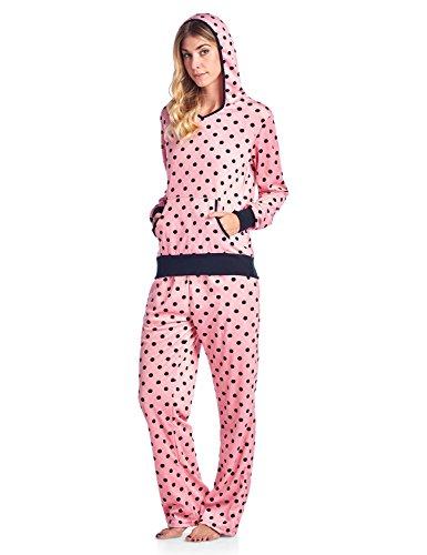 Ashford & Brooks Women's Mink Fleece Hoodie Pajama Set - Pink Black Dots - 3X-Large