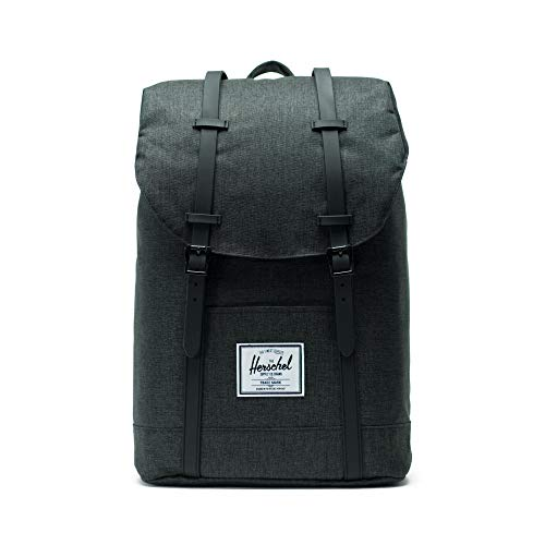 Mochila Herschel Retreat - 19.5 Litre Negro Crosshatch-Negro Rubber (Default, Negro)